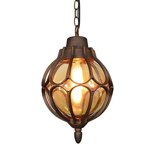 Vintage Laterne Pendelleuchte Aussen Innen Bronze Aluminium und Glasschirm Pendellampe Außenlampe Höhenverstellbar Industrie Retro-Lampe Kugel-Design Deckenleuchte,φ18*33CM