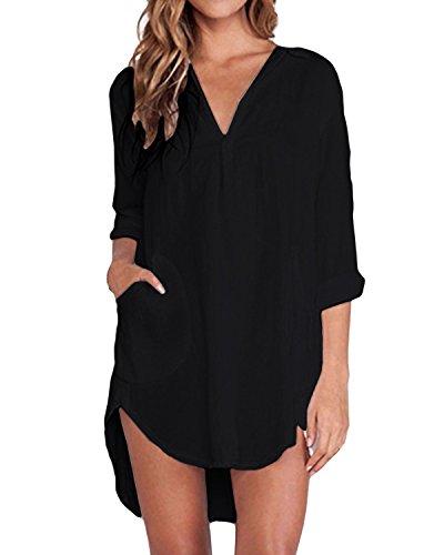 ZANZEA Bluse Damen Langarm Shirt Oberteile Casual V Ausschnitt Einfarbig Sexy Locker Tunika Tops A-Schwarz EU 44