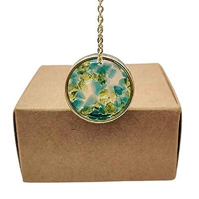 Cellule Vert Bleu Naturel Cristal Transparent Résine Cercle Plaqué Or 18k Chaîne Colliers avec pendentifs