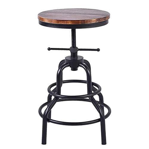 jjff Taburetes de Bar industriales: Taburete de Cocina de Metal Ajustable de Madera Redonda giratoria rústica para cafetería, Pub, Bar, Muebles