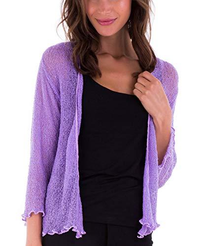 SHU-SHI, donne - Cardigan con coprispalle velato in maglia leggera, lavanda, taglia unica