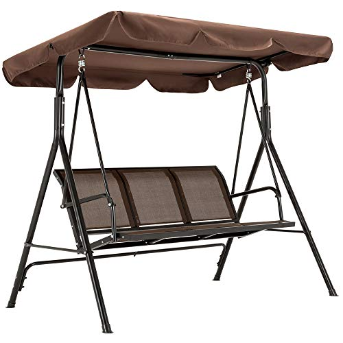 Mcombo Outdoor Patio Canopy Swing Chair 3-Person, Steel Frame Textilence Seats Swing Glider, 4507 (Brown)