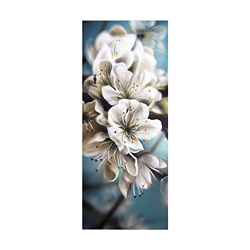 PVC Waterproof Door Sticker, White Floral Home Decoration Door Sticker, self-Adhesive Wall Sticker, Easy to Install, Environmentally Friendly and Durable