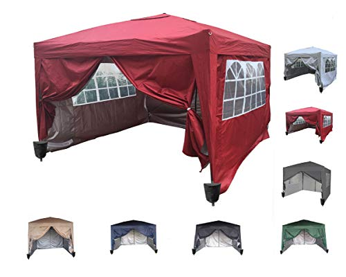 home 3x3m Waterproof Pop-up Gazebo with Silver Protective Layer Marquee Canopy WS… (Red)