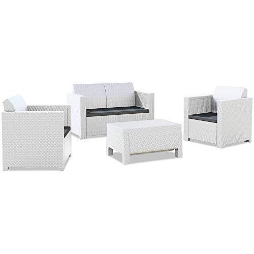 Casamania Juego Nebraska - Juego de salón de 4 plazas, color blanco, 281 x 155 x 79 cm