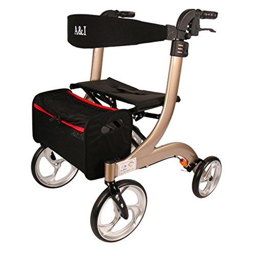 Tochange Faltbare Rollator-Gehhilfe, Älterer Trolley Mit Abschließbaren Bremsen + Gepolsterter Sitz + Speicher Korb + Höhenverstellbare Griffe & Rückenstütze,Champagne