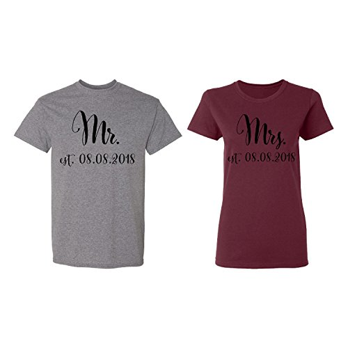 Mr. - Mrs. Personalized Couple Matching Shirt Set Newly Married Customized Valentines Day Men Deep Heather/Women Maroon