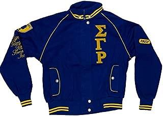 Big Boy Gear Sigma Gamma Rho Womens Sorority Initials and Shoulder Trim on Snap Racing Jacket