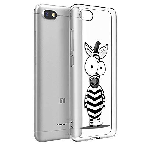 ZhuoFan Funda Xiaomi Redmi 6A, Cárcasa Silicona Transparente con Dibujos Diseño Suave TPU Antigolpes de Protector Piel Case Cover Bumper Fundas para Movil Xiaomi Redmi6A 2019, Cebra