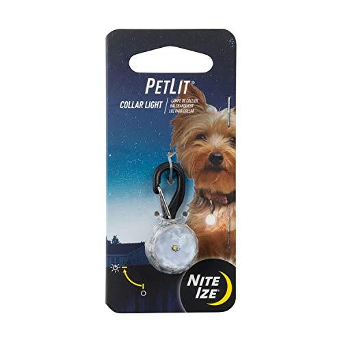 Nite Ize PetLit LED Collar Light, Dog Or Cat Collar Light, Replaceable Batteries, White LED Jewel...