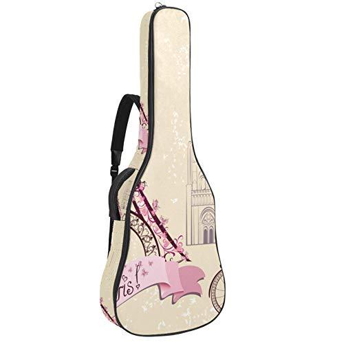 Funda para guitarra reforzada con esponja gruesa y acolchado extra para guitarra, soporte para cuello, soporte trasero, para guitarra acústica, clásica, vintage, retro, torre Eiffel