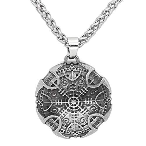 Htulip Wikinger Halskette 316L Edelstahl nordische Vegvisir Runen Anhänger Halskette keltisch heidnisch Amulett Halskette für Männer Frauen