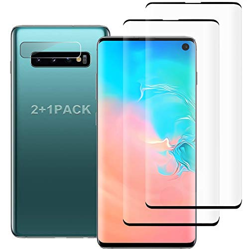 [4 Pack]Galaxy S10 Screen Protector 2 Pack Tempered Glass Screen Protector +2 Pack Tempered Glass Camera Lens Protector for Galaxy S10,[9H Hardness] HD Transparent Full Coverage [Anti-Fingerprint]