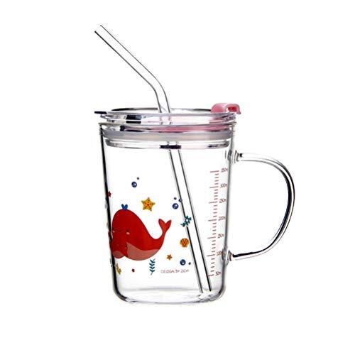 Cabilock Delicado Canudo para Garotos Taça de Água Borossilicato Alto Capa de Vidro à Prova de Calor Copo de Água de Palha para Escola Doméstica (Padrão de Baleia), Assorted Color 1, 12x12cm