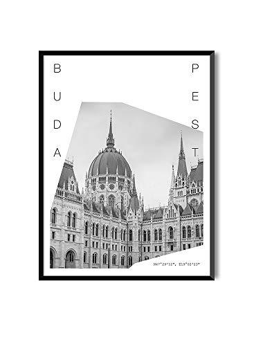 MILUKA Láminas con Marco de Estilo Fotográfico | Cuadro de Ciudades y Viajes | Budapest | Blanco y Negro (30 x 40 cm)
