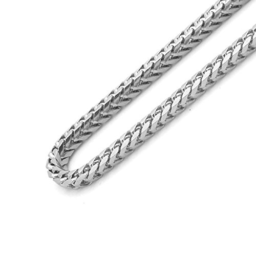 Sterling Silver Italian 2.5mm Solid Franco Square Box Link -Made in Italy (Rhodium, 18)