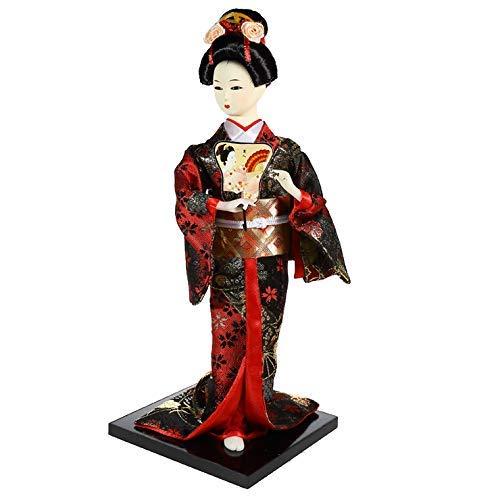 lachineuse Muñeca Japonesa de Kimono Rojo y Negro