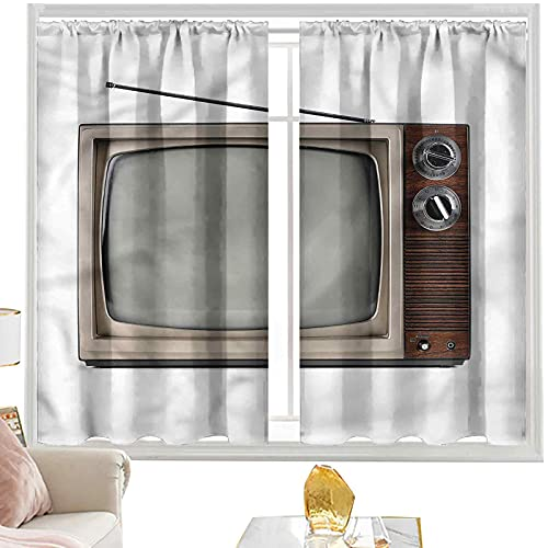 Cortinas aislantes 1950s, Old Television con antena W42 x L84 pulgadas cortina de granja