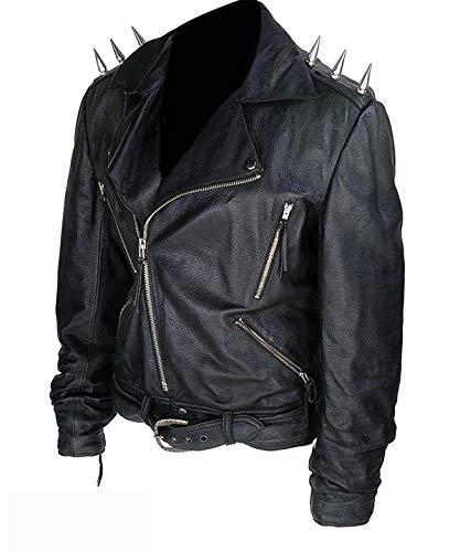 Herren Nicolas Cage Ghost Rider Johnny Blaze Metall Spikes Schwarz Biker Echtleder Jacke Gr. Medium, Schwarz