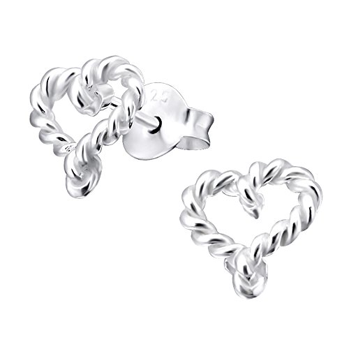 Laimons Pendientes para mujer Corazón abierto trenzado Brillante Plata de ley 925