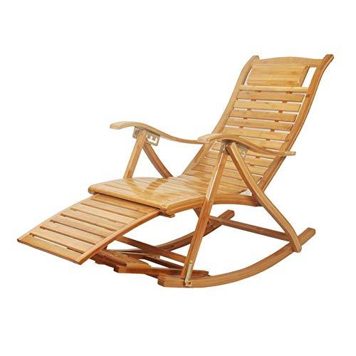 QIDI Balancement Chaise Chaises Longues Pliant Bambou Fauteuil Bascule Plate-Forme Relaxant Inclinable Siège (Couleur : A2)