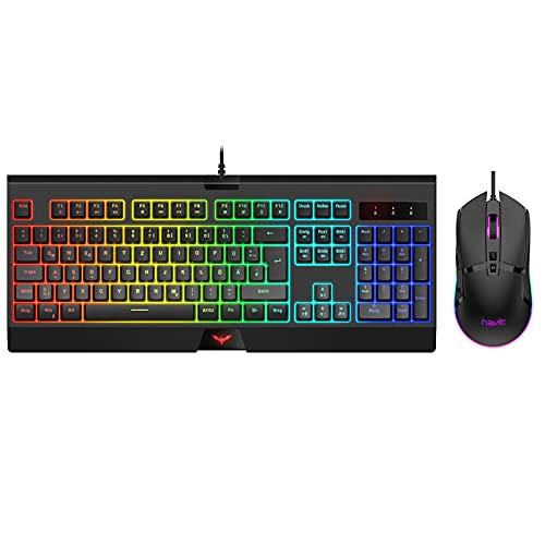 havit Gaming Tastatur mit Maus Set RGB Beleuchtung Kabelgebundene Tastatur QWERTZ Layout ,Wired 4800 D P I RGB Gaming Maus mit 7 Programmierbare Tasten (Schwarz) KB854