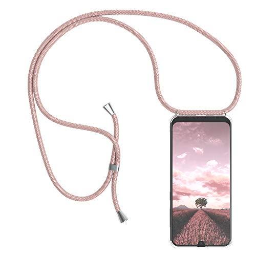 EAZY CASE Handykette kompatibel mit Samsung Galaxy A50 / A30s / A50s mit Umhängeband, Handykordel mit Schutzhülle, Silikonhülle, Hülle mit Band, Stylische Kette mit Hülle für Smartphone, Rosé-Gold