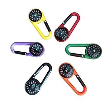 STOBOK Lot de 12 mousquetons porte-clés avec boussole pour voyage randonnée (couleur aléatoire)
