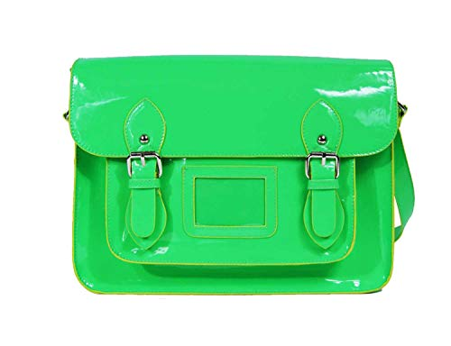 Charol Bolso Cruzado Clásico Retro Bolsos Neón Brillante Quenchy Verde