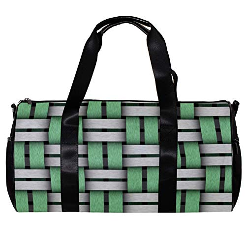 Round Gym Sports Duffel Bag With Detachable Shoulder Strap 3D Green And White Geometric Background Training Handbag Overnight Bag for Women And Men