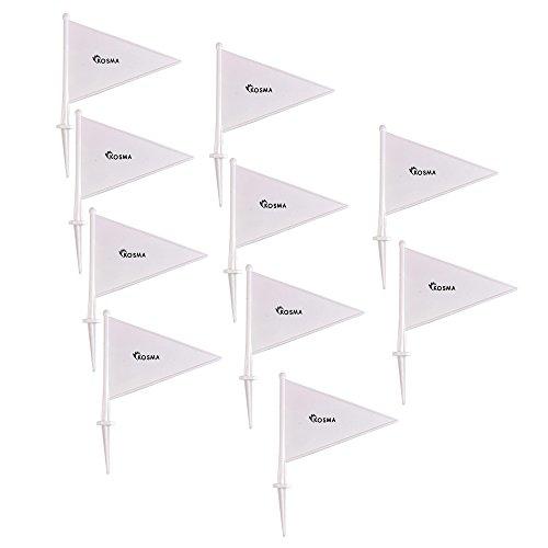 Kosma Pack de 10 marcadores de límite de banderas - Cricket/rounders/ deportes de campo /juegos al aire libre (blanco)