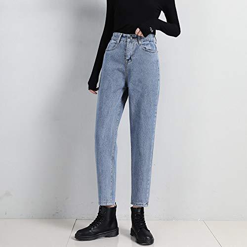 Pantalones Vaqueros De Cintura Alta para Mujer Pantalones Sueltos para Niñas Pantalones Harem para Estudiantes Mujeres XXL Azul Cielo