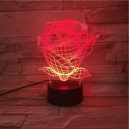 LIkaxyd 3D-563 3D Led Nachtlichter Freunde Geschenk Baby Nachtlicht Usb Oder Batteriebetriebenes Büro Deko Licht 7/7 Farbe Rose Flowers