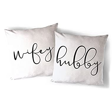 The Cotton & Canvas Co. Hubby and Wifey Home Decor Pillow Cover, Pillowcase, Cushion Cover and Decorative Throw Pillow, 2-pack (Natural Color, Not White)