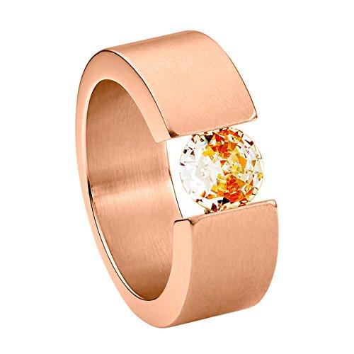 Heideman Ring Damen Turris aus Edelstahl Rosegold farbend matt Damenring für Frauen mit Swarovski Stein Zirkonia braun im Brillant Schliff 7mm