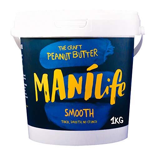 ManiLife Erdnussbutter - Peanut Butter - Alles Natürlich, ein Anbaugebiet, ohne Zuckerzusatz, ohne Palmöl – Original Roast Smooth – (1 x 1kg)