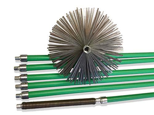 KIBROS 5KIT15N | Kit de deshollinador profesional de conductos forrados, erizo sintético, diámetro 150 mm, 8,50 m en 6…