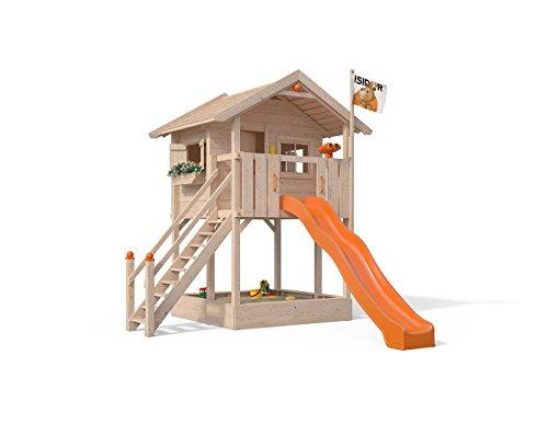 ISIDOR Spielturm FRIDOLINO Schaukelanbau mit XXL Rutsche in orange, Sandkasten, Balkon und Sicherheitstreppe auf 1,50 Meter Podesthöhe