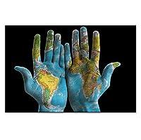 ピクチャーアートリビングルームインテリア、抽象的な両手で世界地図キャンバス上の個性ポスターHDプリント壁のアートワーク家の装飾絵画、フレームなし,40*50cm
