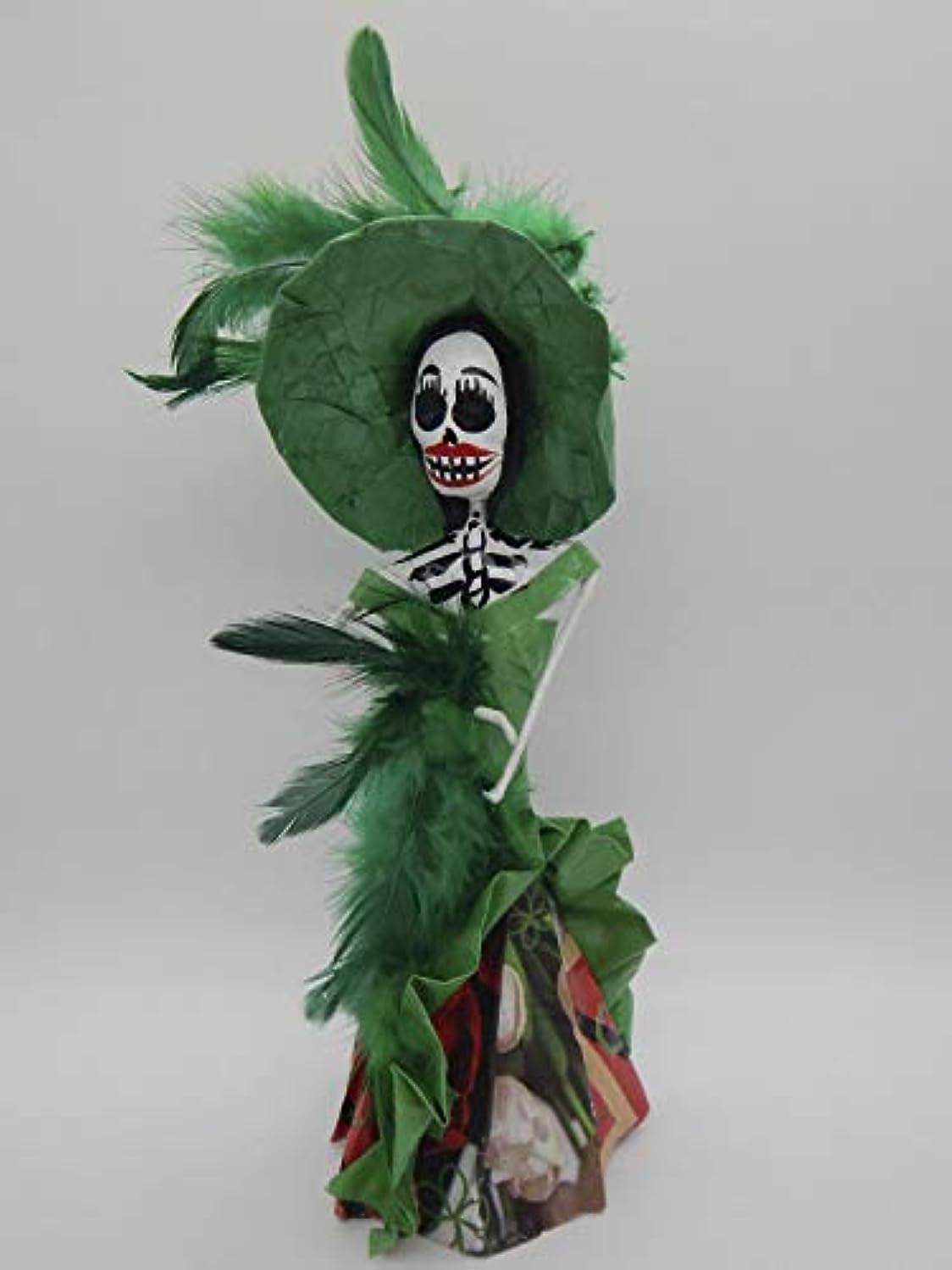 COLOR Y TRADICIóN Mexican Catrina Doll Day of Dead Skeleton Paper Mache Dia de Los Muertos Skull Folk Art Halloween Decoration # 1554