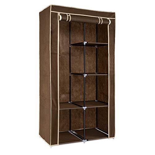 Navaris Armoire de Rangement - Dressing penderie Tissu - Garderobe Pliante XL avec 6 Cases - Vêtements Chambre Adulte Enfant - 88 x 170 x 45 cm