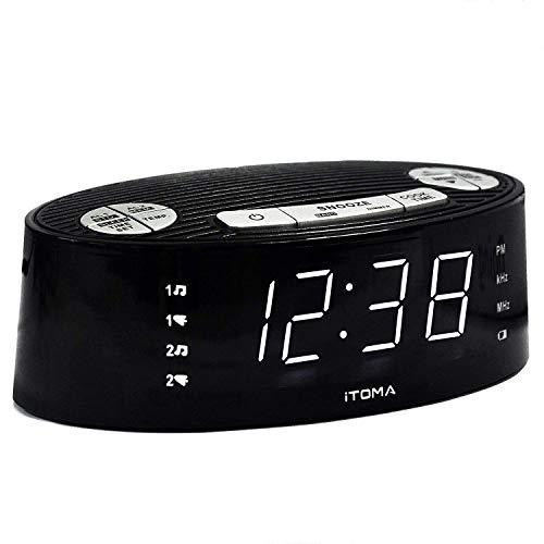iTOMA Radio Reloj Despertador, Digital Am FM, Alarma Dual, repetición, Regulador de luz, Pantalla de Temperatura Interior, cronómetro de Cuenta atrás, Batería de Reserva (CKS3301B)