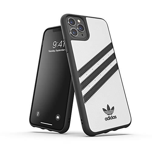 adidas Originals Kompatibel mit iPhone 11 Pro Max Hülle, geformte TPU DREI-Streifen-Schutzhülle - Weiß Schwarz