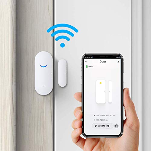 4 Pack WiFi Door Sensor Detector Smart Wireless Window Sensor Real-time Alarm Compatible with Alexa Google Assistant, Home Security Door Open Contact Sensor for Bussiness Burglar Alert