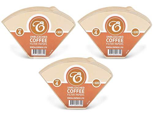 EDESIA ESPRESS - 300 filtri caffè americano in carta non sbiancata - forma a cono - misura 4