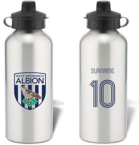 Personalised West Bromwich Albion Retro Shirt Aluminium Sports Water Bottle - Silver Bottle