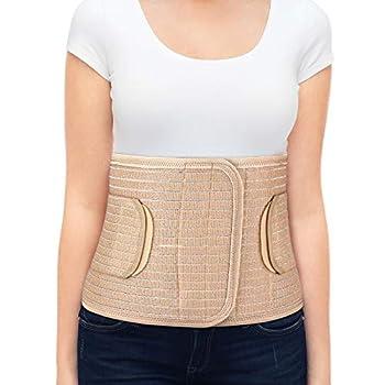 ORTONYX Breathable 9.5  Abdominal Binder/Postpartum Postoperative Wrap/Abdomen Hernia Support Belt for Men and Women - XXL  42 -48   Beige