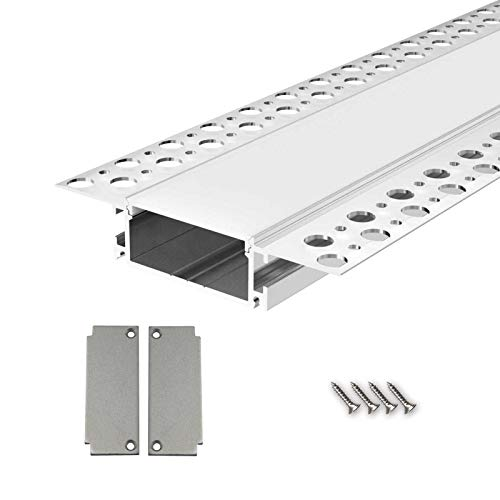 SALA88 U-Profil Aluminium LED eloxiert | L - 2m x B - 4,0cm x H - 1,85cm | Alu Kanal für LED Streifen + Acryl Abdeckung milchig-weiß + 2x Endkappen | Aluprofil für Stripes bis 36mm Breite + belastbar