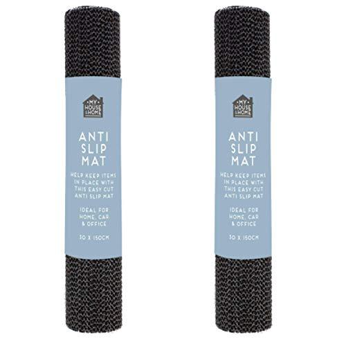 2x Black Anti Slip Mats - 30x 150cm Each Mat | Non Slip Rubber Matting - Shelf Drawer Liner - Kitchen Drawer Liner | Rug Underlay | Total of 9000cm2 grip roll (Black)