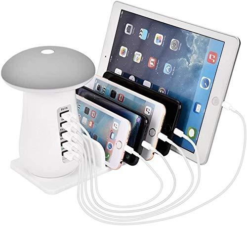 Stazione di ricarica USB multiporta, Base di ricarica da tavolo per dock di ricarica a 5 porte Dock di ricarica rapida per più dispositivi Caricatore per luce notturna per lampada da tavolo a LED